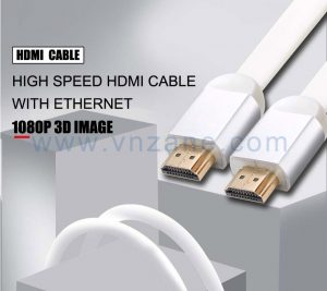 vnzane white flat HDMI cable for stable data transmission