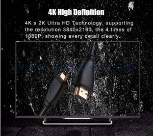 black vnzane HDMI to audio video cable for 4K definition