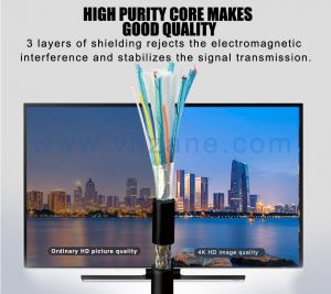 vnzane HDMI to audio video cable for high-speed data transmission